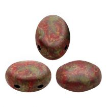 Samos® par Puca®gyöngy - Opaque Coral Red Deep Gold - 5x8 mm