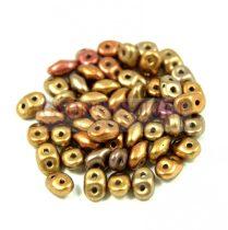 Superduo cseh préselt kétlyukú gyöngy - 2.5x5mm - rose bronze