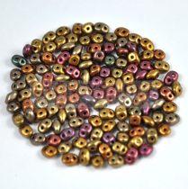 Superduo cseh préselt kétlyukú gyöngy - 2.5x5mm - metallic rose gold