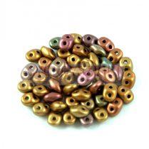 Superduo gyöngy 2.5x5mm - bíbor írisz arany