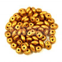 Superduo cseh préselt kétlyukú gyöngy - 2.5x5mm - brass gold