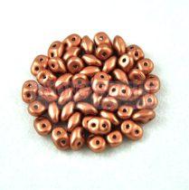 Superduo cseh préselt kétlyukú gyöngy - 2.5x5mm - matte metallic copper