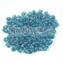 Superduo gyöngy 2.5x5mm - kristály-kék lüszter