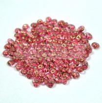 Superduo cseh préselt kétlyukú gyöngy - 2.5x5mm - crystal rose bronze luster