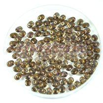 Superduo gyöngy 2.5x5mm - barna-lila ranszparens lüszter