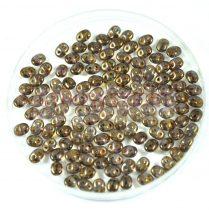 Superduo cseh préselt kétlyukú gyöngy - 2.5x5mm - brown purple trans luster