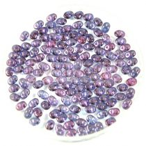 Superduo gyöngy 2.5x5mm - kristály-lila lüszter