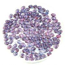 Superduo cseh préselt kétlyukú gyöngy - 2.5x5mm - crystal purple luster