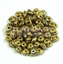 Superduo cseh préselt kétlyukú gyöngy - 2.5x5mm - crystal full amber