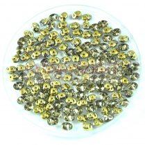 Superduo cseh préselt kétlyukú gyöngy - 2.5x5mm - crystal amber