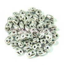 Superduo cseh préselt kétlyukú gyöngy - 2.5x5mm - Silver
