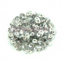 Superduo cseh préselt kétlyukú gyöngy - 2.5x5mm - crystal silver