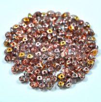 Superduo cseh préselt kétlyukú gyöngy - 2.5x5mm - crystal apollo