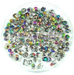 Superduo cseh préselt kétlyukú gyöngy - 2.5x5mm - crystal vitral