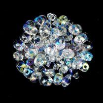 Superduo cseh préselt kétlyukú gyöngy - 2.5x5mm - crystal AB