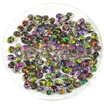Superduo cseh préselt kétlyukú gyöngy - 2.5x5mm - green purple magic