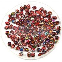 Superduo gyöngy 2.5x5mm - piros-barna magic