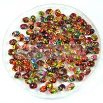 Superduo gyöngy 2.5x5mm - sárga-piros magic