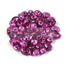 Superduo cseh préselt kétlyukú gyöngy - 2.5x5mm - crystal metallic fuchsia