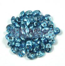 Superduo cseh préselt kétlyukú gyöngy - 2.5x5mm - Crystal Metallic Aqua