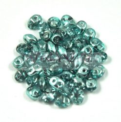 Superduo cseh préselt kétlyukú gyöngy - 2.5x5mm - Crystal Metallic Turquoise
