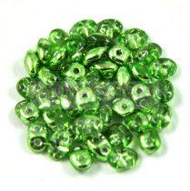 Superduo cseh préselt kétlyukú gyöngy - 2.5x5mm - crystal metallic lime