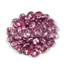 Superduo cseh préselt kétlyukú gyöngy - 2.5x5mm - crystal metallic purple