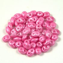 Superduo cseh préselt kétlyukú gyöngy - 2.5x5mm - Pearl shine pink