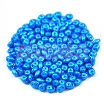 Superduo cseh préselt kétlyukú gyöngy -  2.5x5mm - pearl shine azuro