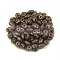 Superduo cseh préselt kétlyukú gyöngy - 2.5x5mm - pastel chocolate