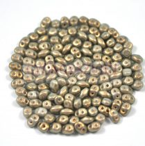 Superduo cseh préselt kétlyukú gyöngy - 2.5x5mm - light olive golden shine