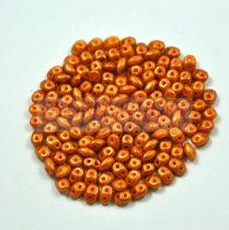 Superduo cseh préselt kétlyukú gyöngy - 2.5x5mm - amber golden shine
