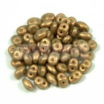 Superduo cseh préselt kétlyukú gyöngy - 2.5x5mm - powder golden shine