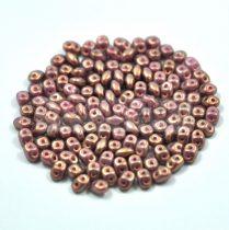 Superduo gyöngy 2.5x5mm - rose bronze golden shine