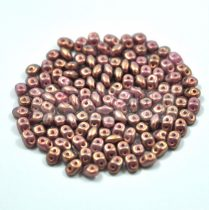 Superduo cseh préselt kétlyukú gyöngy - 2.5x5mm - rose bronze golden shine