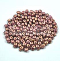 Superduo cseh préselt kétlyukú gyöngy - 2.5x5mm - rose bronze golden shine