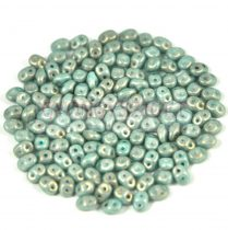 Superduo gyöngy 2.5x5mm - light blue golden shine