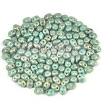 Superduo cseh préselt kétlyukú gyöngy - 2.5x5mm - light blue golden shine