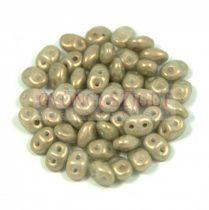 Superduo cseh préselt kétlyukú gyöngy - 2.5x5mm - olive golden shine