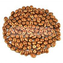 Superduo cseh préselt kétlyukú gyöngy - 2.5x5mm - chocolate golden shine