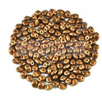 Superduo gyöngy 2.5x5mm - dark bronze golden shine