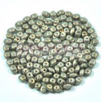 Superduo cseh préselt kétlyukú gyöngy - 2.5x5mm - Gray Golden Shine