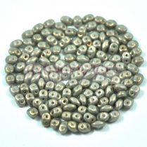Superduo cseh préselt kétlyukú gyöngy - 2.5x5mm - Gray Golden Shine