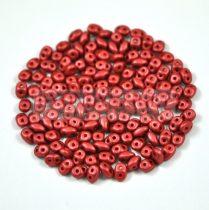 Superduo cseh préselt kétlyukú gyöngy - 2.5x5mm - polichrome metallic red brown