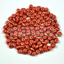 Superduo cseh préselt kétlyukú gyöngy - 2.5x5mm - polichrome metallic copper