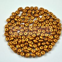 Superduo cseh préselt kétlyukú gyöngy - 2.5x5mm - polichrome metallic gold