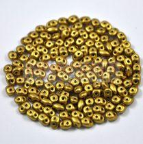 Superduo cseh préselt kétlyukú gyöngy - 2.5x5mm - polichrome ancient gold