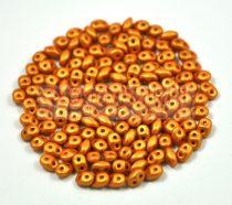 Superduo cseh préselt kétlyukú gyöngy - 2.5x5mm - polichrome metallic terracotta