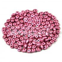 Superduo cseh préselt kétlyukú gyöngy - 2.5x5mm - polichrome metallic mauve