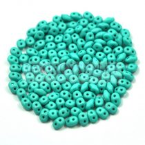 Superduo cseh préselt kétlyukú gyöngy - 2.5x5mm - silk satin turquoise green